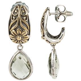 Ohrhänger 925 Sterling Silber Prasiolith