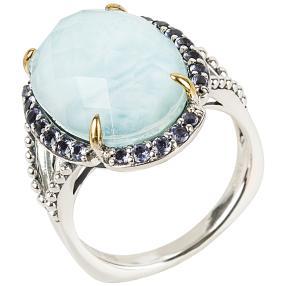 Ring 925 Sterling Silber Larimar Dublette