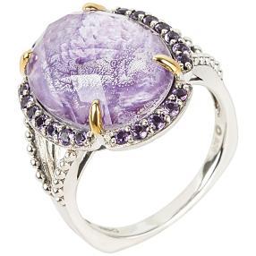 Ring 925 Sterling Silber Charoit Dublette