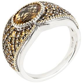 Ring 925 Sterling Silber rhodiniert Madeira Citrin