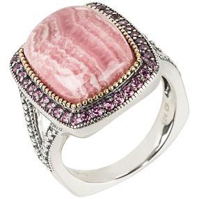 Ring 925 Sterling Silber rhodiniert Rhodochrosit