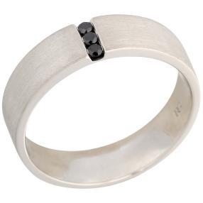 Ring 950 Platin mit Brillanten schwarz seidenmatt