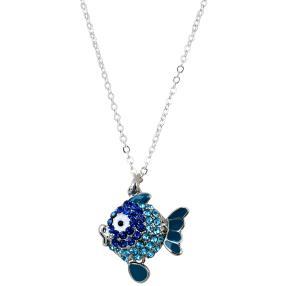 crystal blue Kette Fisch