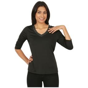 ÉTOILE DE MER  Basic-Shirt mit Strass schwarz