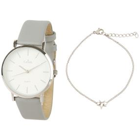 Estrela Damenuhr silber/grau + Armband mit Stern