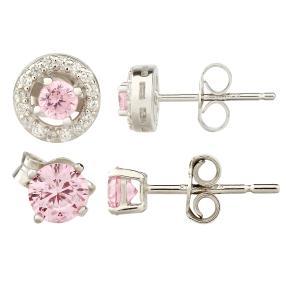 Ohrstecker 925 Silber pink Zirkonia