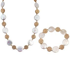 Set Kette + Armband mit Perle + Hämatit ca. 15 mm
