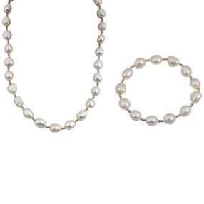Set Kette+Armband Perle weiß