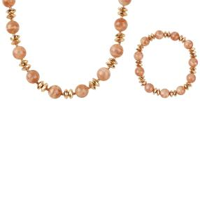 2er Set Collier + Armband, Sonnenstein