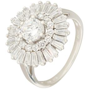 Ring 925 Sterling Silber rhodiniert Sunflower
