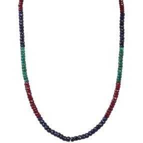 Collier Korund tricolor, 925 Silber