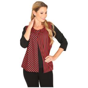 MILANO Design Shirt 'Denise' schwarz/rot