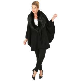 MILANO Design Poncho 'Adelina' mit Fell schwarz