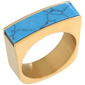 Ring Edelstahl vergoldet blau