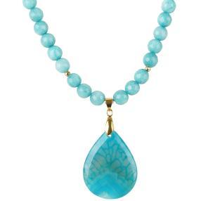 Collier Jade mit Achatanhänger in blau