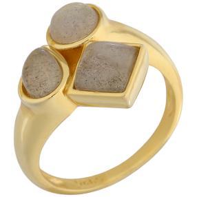 Ring 925 Sterling Silber vergoldet Labradorit