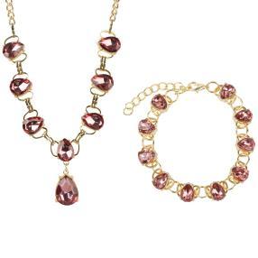 Set Kette+Armband mit braunen Kristallen