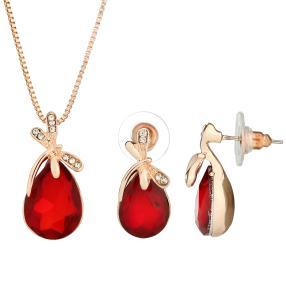 2-teiliges Set Collier+Ohrhänger vergoldet Libelle