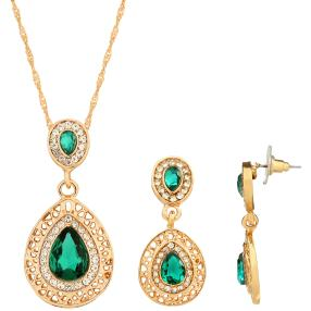 2 teiliges Set Collier+Ohrhänger vergoldet grün