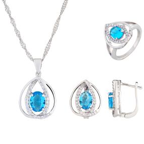 3er Set Collier+Ohrstecker+Ring blau