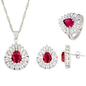 3er Set Collier+Ohrstecker+Ring pink