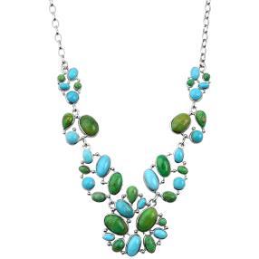 Collier 925 Silber Türkis blau+grün stabilisiert