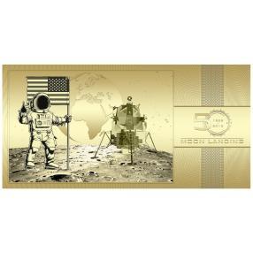 Goldbanknote 50 Jahre Mondlandung
