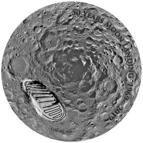 Silberunze Mondlandung Schuhabdruck