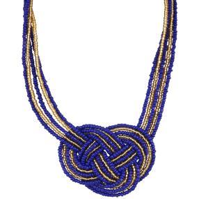Collier Rocaille Knoten blau/gold