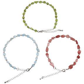 Set Armbänder 3-teilig Peridot, Aquamarin, Quarz