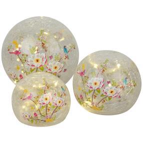 LED-Glaskugeln Blumen 3er-Set
