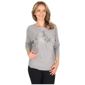 Damen-Pullover 'Kitty Cat' grau
