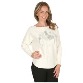 Damen-Pullover 'Kitty Cat' offwhite