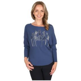 Damen-Pullover 'Kitty Cat' blau