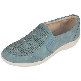 Cushion-walk Damen Slipper, petrol, weiß