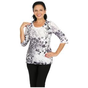 BRILLIANTSHIRTS Shirt 'Soldano' weiß/grau/schwarz