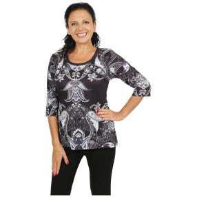 BRILLIANTSHIRTS Shirt 'Noli' schwarz/weiß/grau
