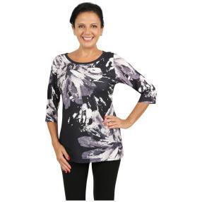 BRILLIANTSHIRTS Shirt 'Loano' schwarz/weiß/grau