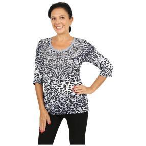 BRILLIANTSHIRTS Shirt 'Imperia' grau/schwarz/weiß