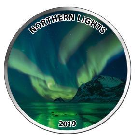 Silbermünze Polarlicht Glow