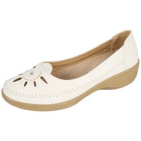 TOPWAY COMFORT Damen Slipper, beige, weiß