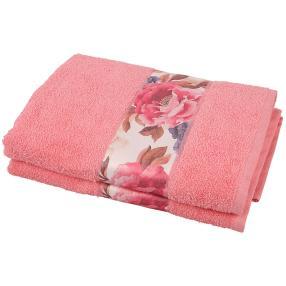 Duschtuch Bordüre 2-teilig, rosa