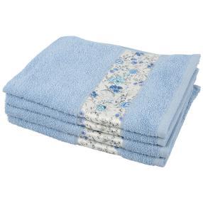 Handtuch Blumen 4-teilig, hellblau