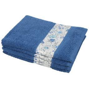Handtuch Blumen 4tlg. blau