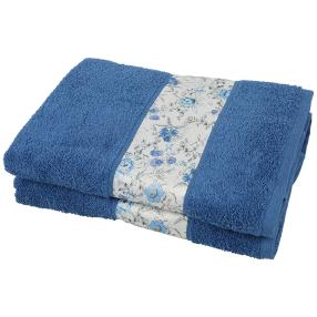 Duschtuch Blumen 2tlg. blau