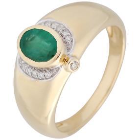 Ring 585 Gelbgold Brasilianischer Smaragd