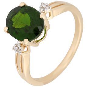 Ring 585 Gelbgold, Chromdiopsid