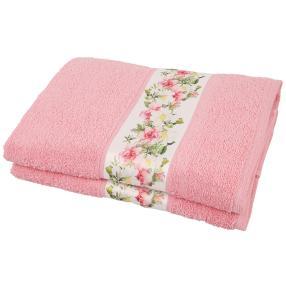 Duschtuch Blumen 2tlg. rosa