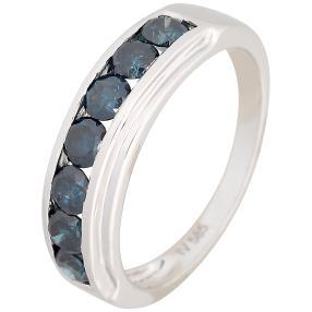 Ring 585 Weißgold mit Brillanten blau