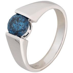 Ring 585 Weißgold mit Brillant Größe 18 blau